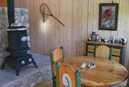 Deshka Wilderness Lodge Pot Belly Stove Kitchen