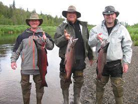 The water has come down and the fish started biting again. Matt, Pat and Perry show off their catches!