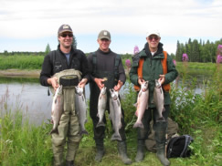 Scott, Tom and Bill get some nice silvers in spite of high water on the Deshka