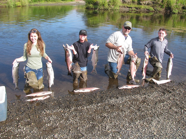 Danielle, Jo Anna, Dave and Matt have a great time catching salmon at Deshka Wilderness Lodge