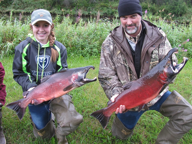 Danielle and Dave show off two nice late season Deshka River Silvers