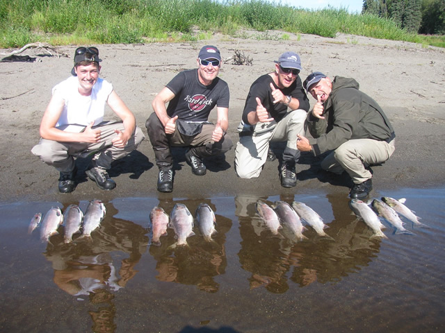 Deshka Wilderness Lodge is about fun and fishing as Andrew, Hans, Mike and Urs celebrate a great day of catching silvers!