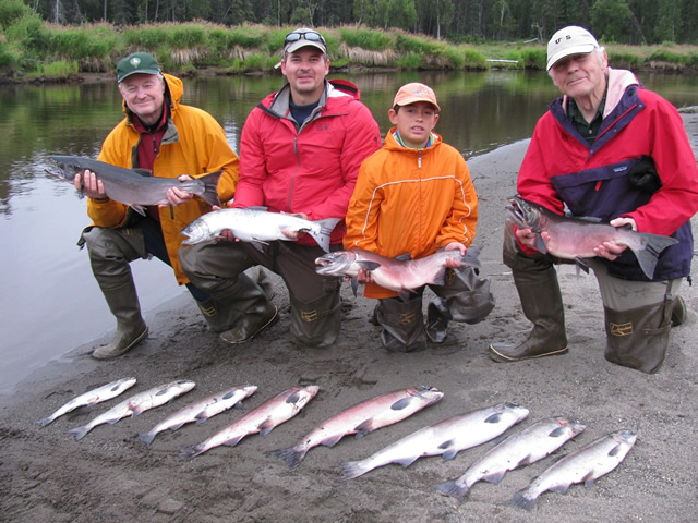 Richard, Carl, Josh and Gary limited out with some nice Deshka River silver salmon.