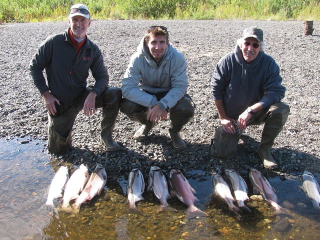 Tim, Adam and John limit out on Cohos on the Deshka River