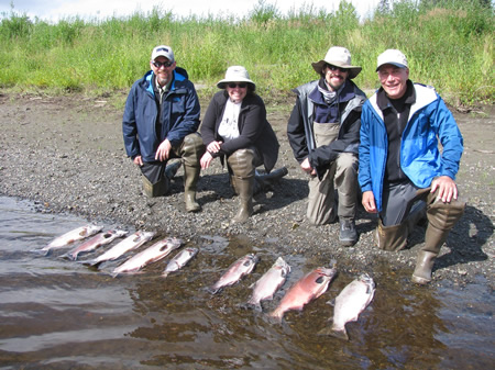 Alan, Karen, Dave and John silver fishing on a beautiful Alaska day