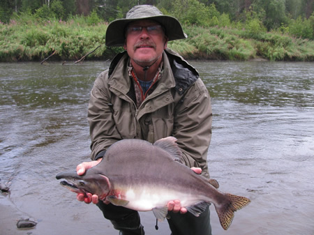 Jeff catches a hard fighting Pink Salmon